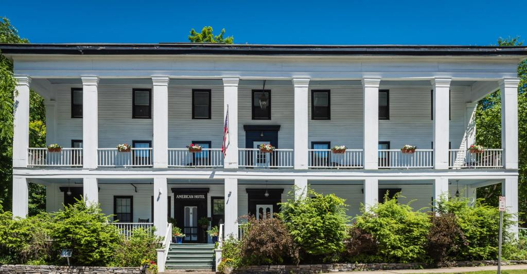 Front exterior of the American Hotel in Sharon Springs NY.