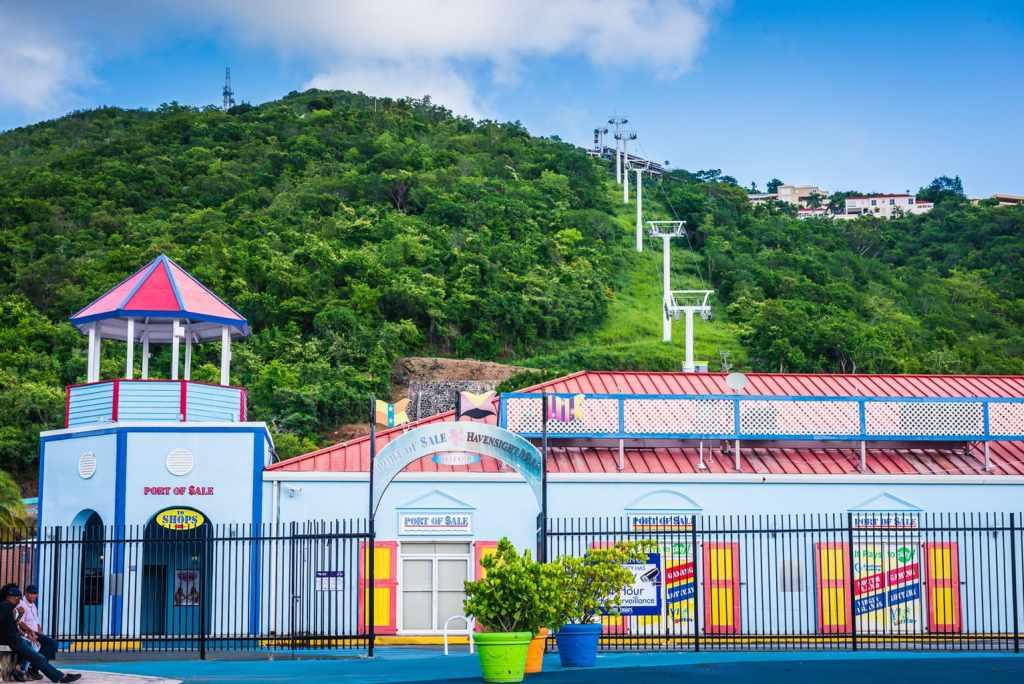 Paradise Point gondola behind Havensight Mall on St. Thomas US Virgin Islands