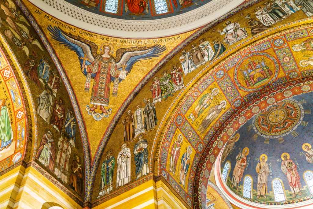 Golden mosaic detail in Cathedral Basilica ceiling.