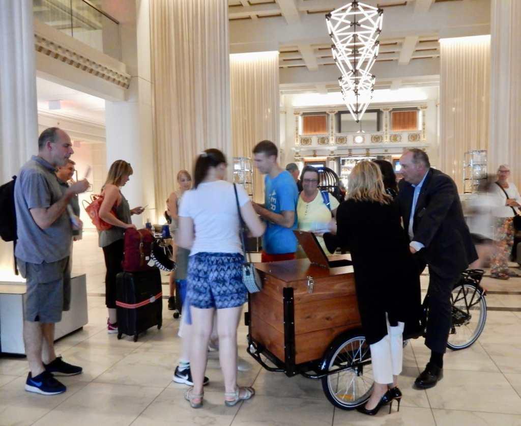 Ice Cream Friday cart in lobby of Boston Park Plaza Hotel