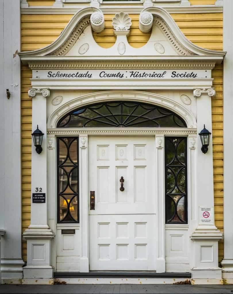 White door at Schenectady County Historical Society