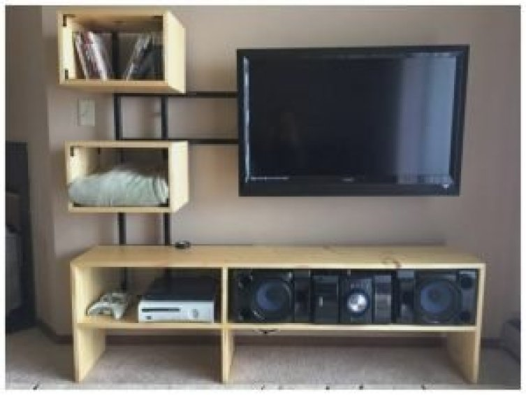 Unique diy tv stand with mount #DIYTVStand #TVStandIdeas #WoodenTVStand