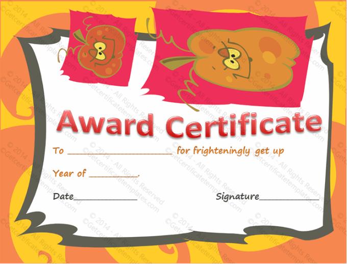 Free Halloween Costume Certificates Frameimage