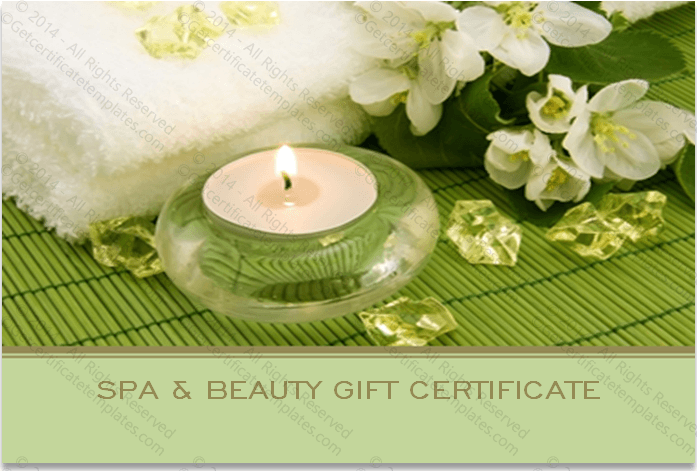 Two Sided Spa Gift Certificate Template