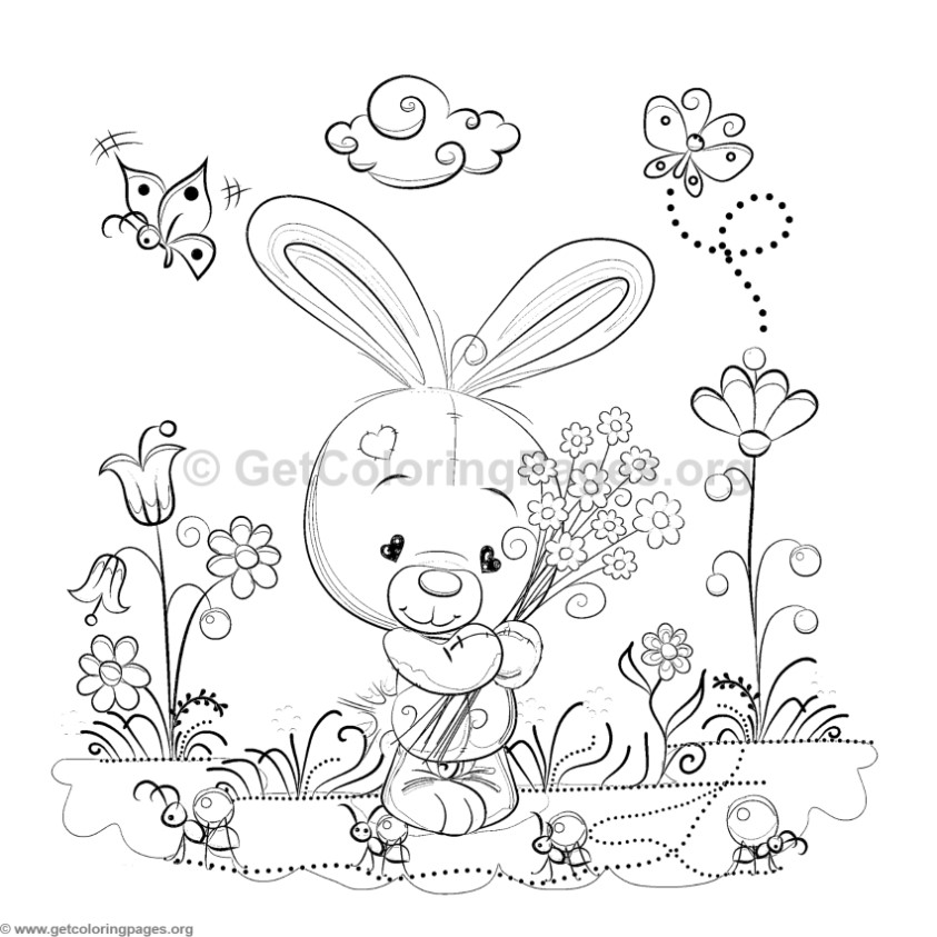 Bunny In The Garden Coloring Pages