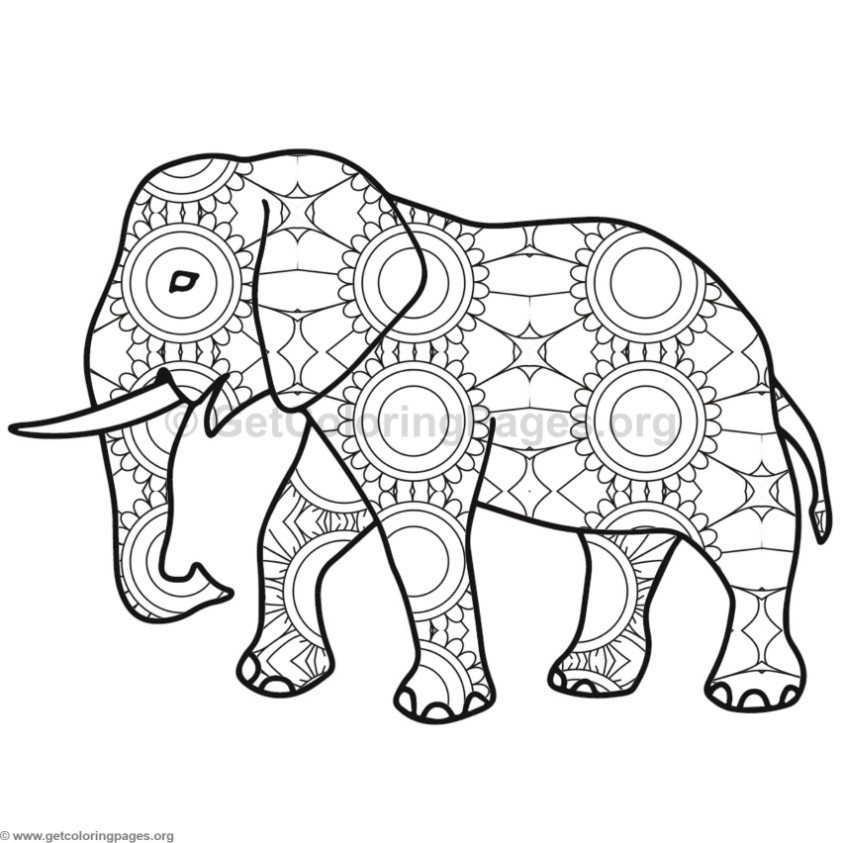 Mosaic Matriarch Elephant Page Coloring