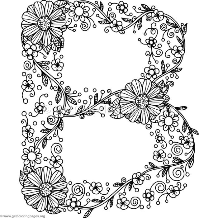 floral alphabet letter b coloring pages – getcoloringpages
