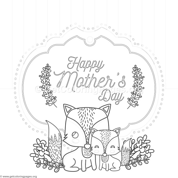 Cute Fox Mothers Day Card Coloring Pages