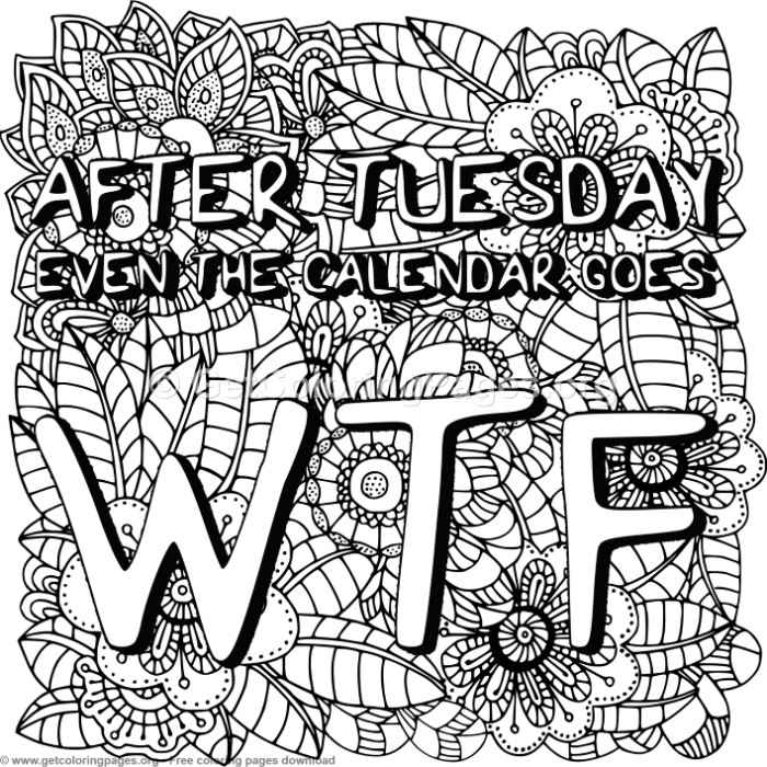 Zentangle After Tuesday Even The Calendar Coloring Pages