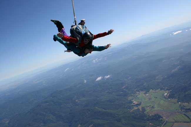 Image of Darian and Rick skydiving, the land is far beneath them.