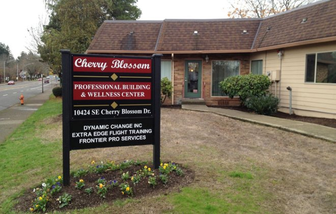 Exterior and sign of Cherry Blossom Wellness Center