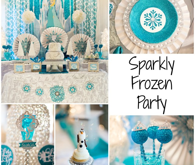 Sparkly Frozen Party Glitter Glass Sparkles Elsa Backdrop Diamonds Pearls