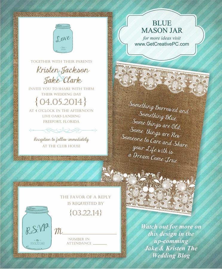 Wedding Invitations Blue Mason Jar Creative Printing Of Bay County Panama City