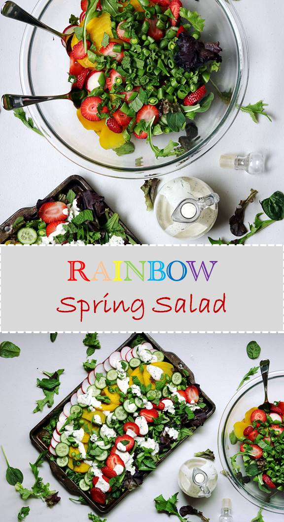 Get lot's of vitamins and minerals with this Rainbow Spring Salad healthy recipe. Strawberries, radishes, cucumbers, and beets are a perfect marriage of sweet, savory, refreshing and a little spicy. This Spring recipe is a stable all season!