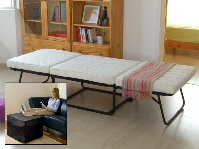 Ottoman/Sleeper Transforms into Cozy Bed in Seconds