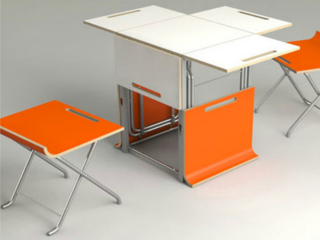 Paket Folding and Collapsible Table and Stools