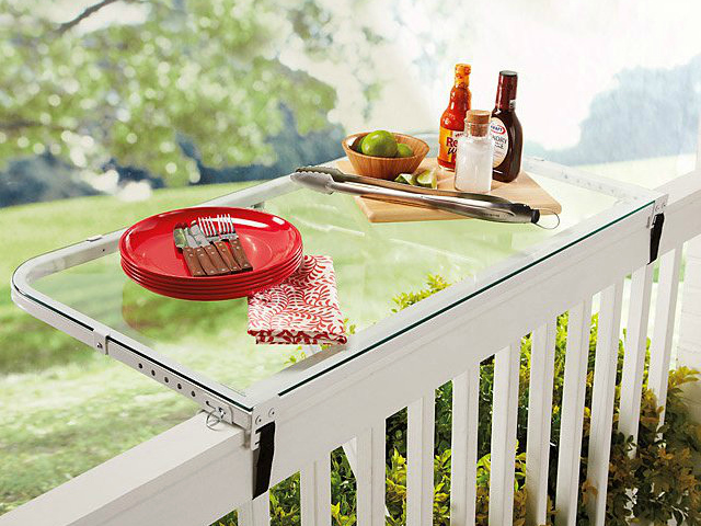 Deckmate Deck Rail Tray Adds Tabletop Space to your Balcony