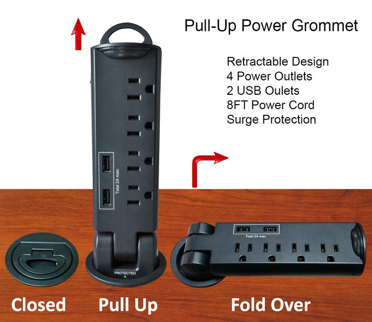 Retractable Pull Up Power Tap Grommet