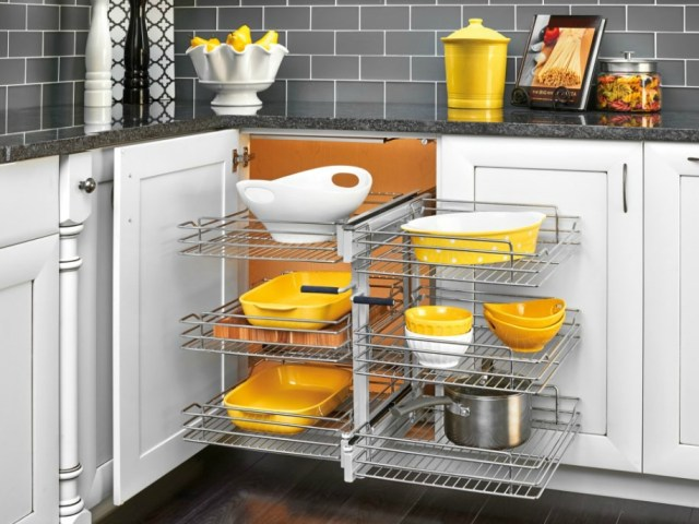 Rev-A-Shelf Basket Organizer Maximizes Blind Corner Cabinet Space