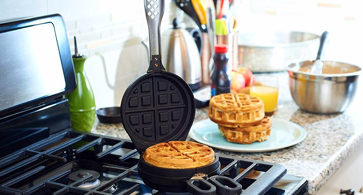 Stuffed Waffle Iron with Toppings on the Inside