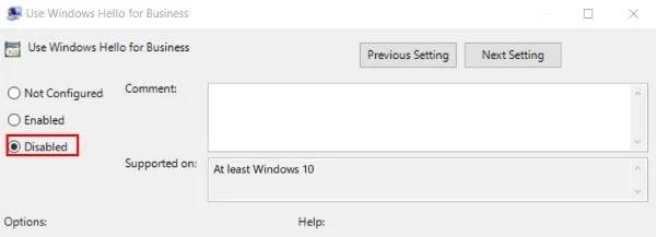 отключить параметр входа в систему с помощью PIN-кода Windows Hello в редакторе реестра