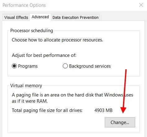 Увеличить размер виртуальной памяти в свойствах Windows 10
