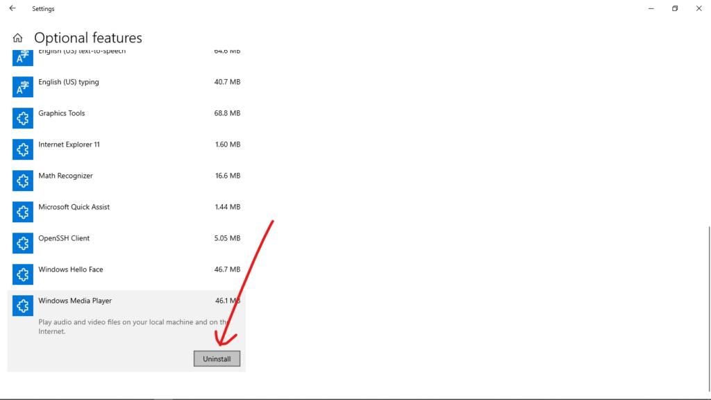 Удалить Windows Media Player