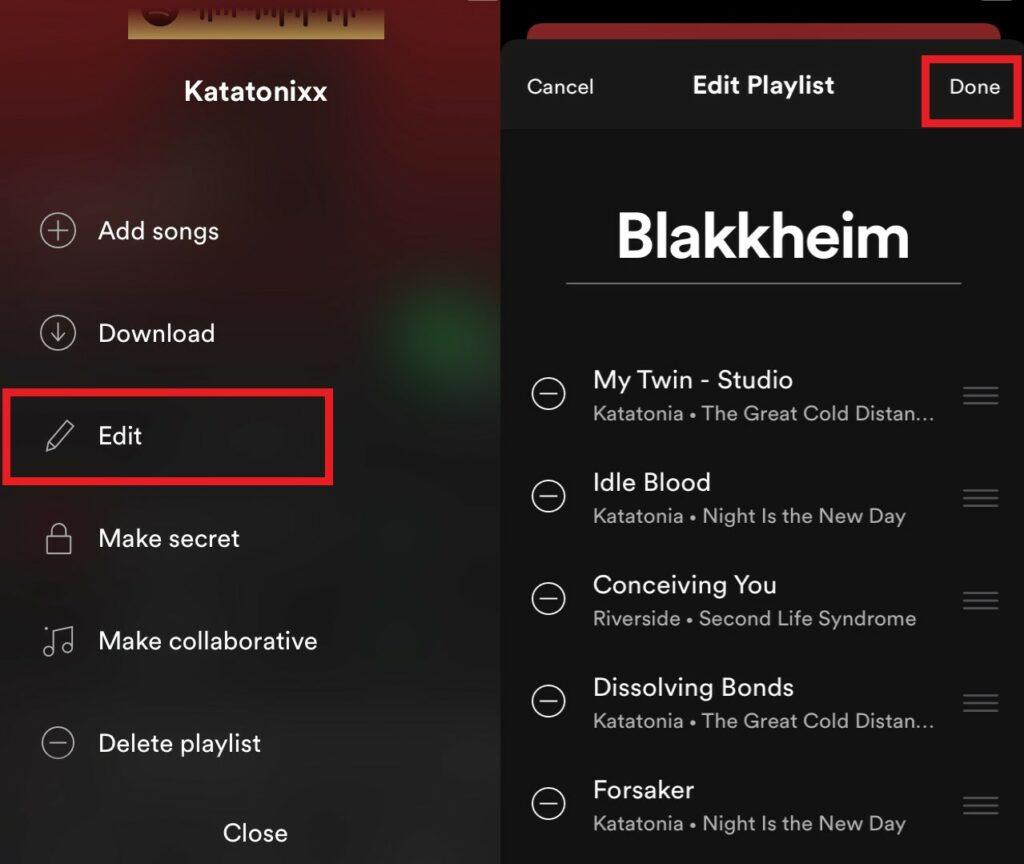 Переименовать Spotify Playlist iOS
