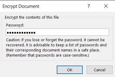 kelime belgesini şifrele