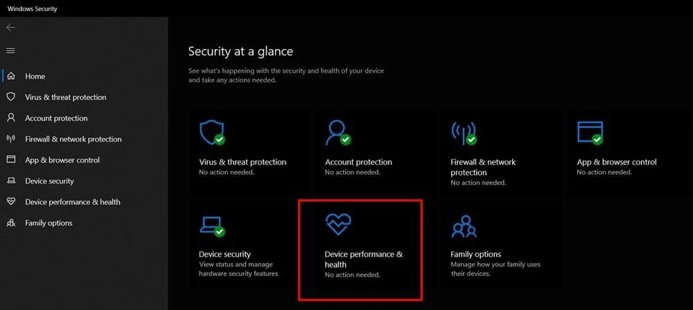 производительность устройства Windows 10