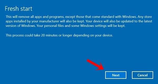свежий запуск Windows 10