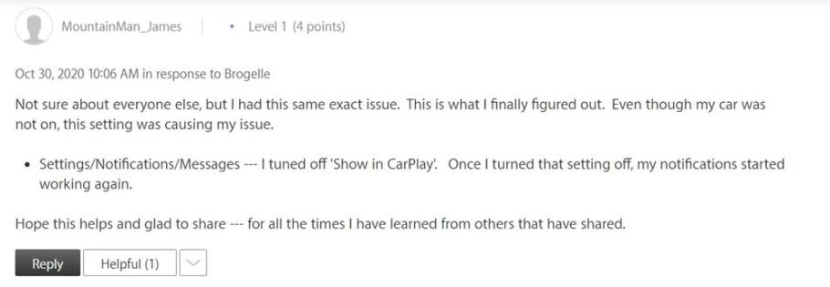 carplay fix ios 14 bildirimlerini devre dışı bırak