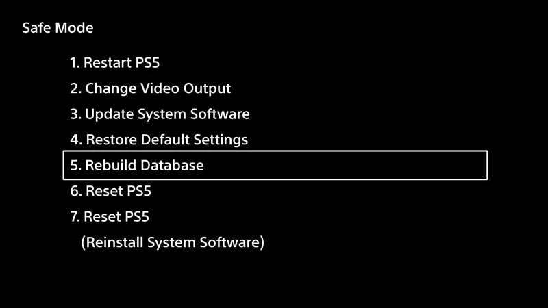 CE-107938-8 Hatasını düzeltmek için PS5 veritabanını yeniden oluşturma
