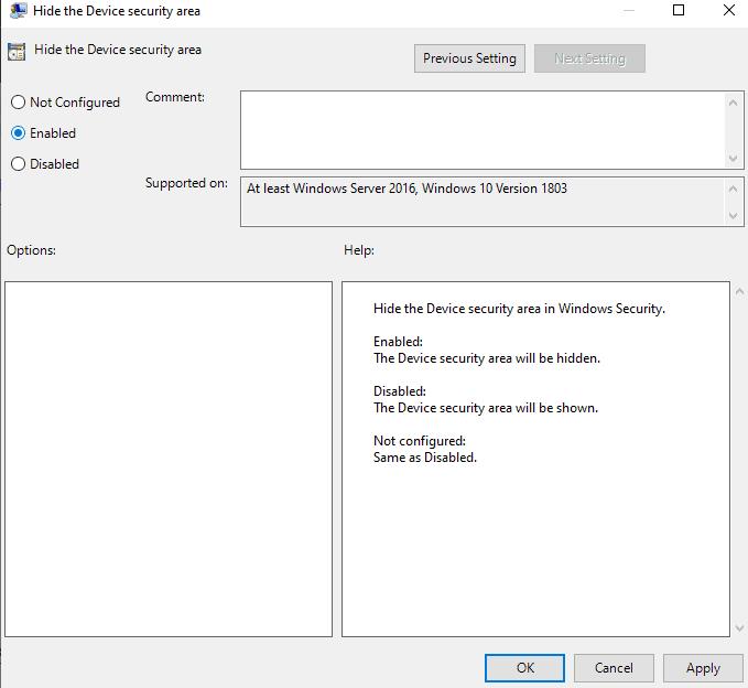 Как скрыть область безопасности устройства в Windows 10?