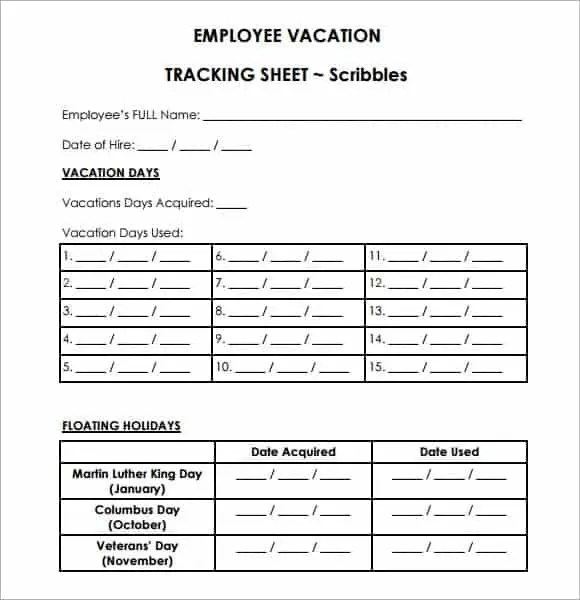 employee vacation tracker template 555