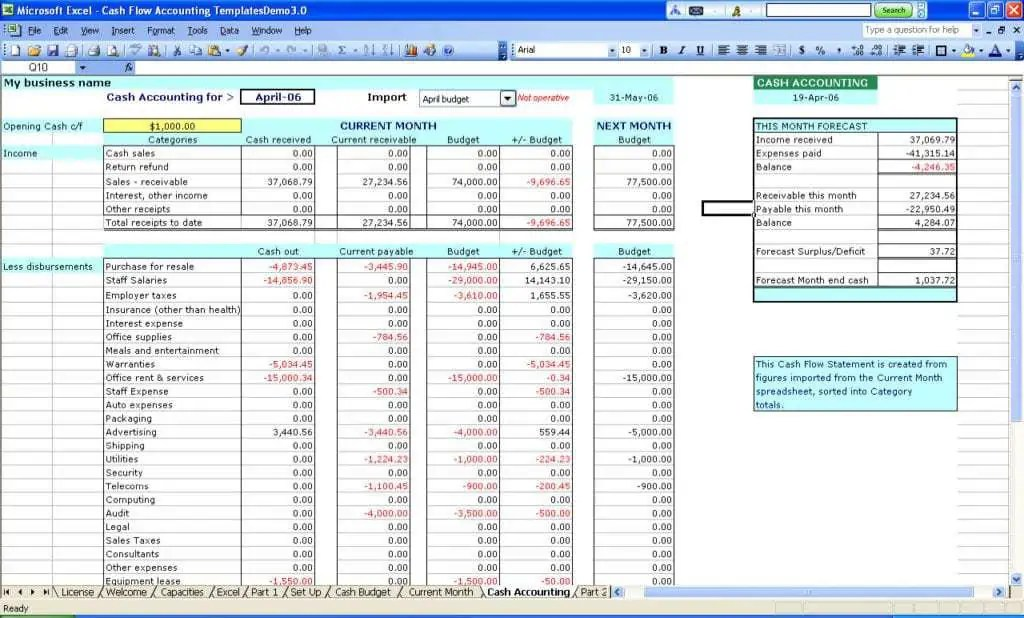 accounting in excel template