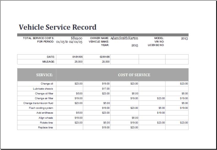 service log templaet 999