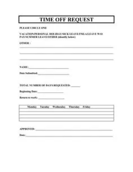 time off request form template 333