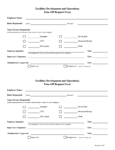 time off request form template 777