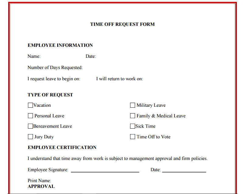 Lovely 10+ Time Off Request Form Templates  Leave Request Form Template