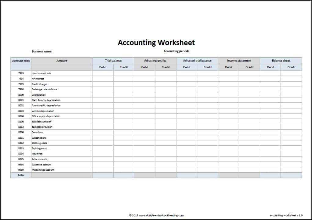 Free Accounting Worksheet Download  VipRu