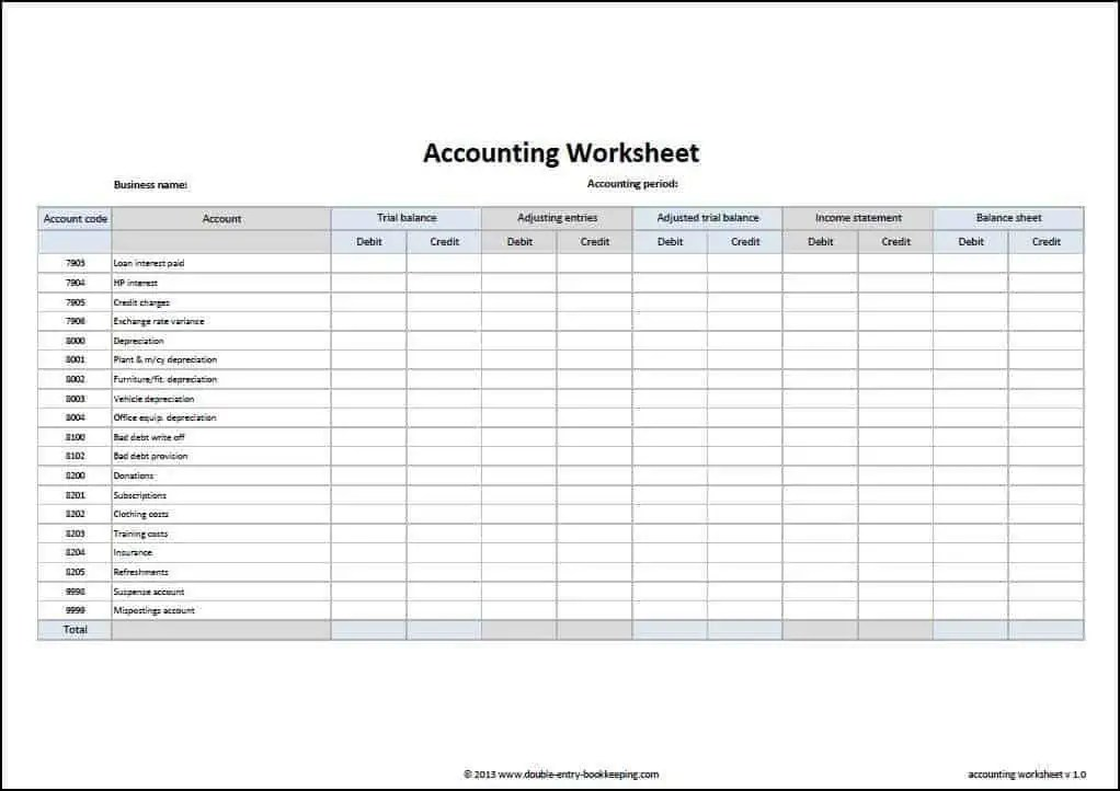 Free Accounting Worksheet Download - Vip-102.Ru