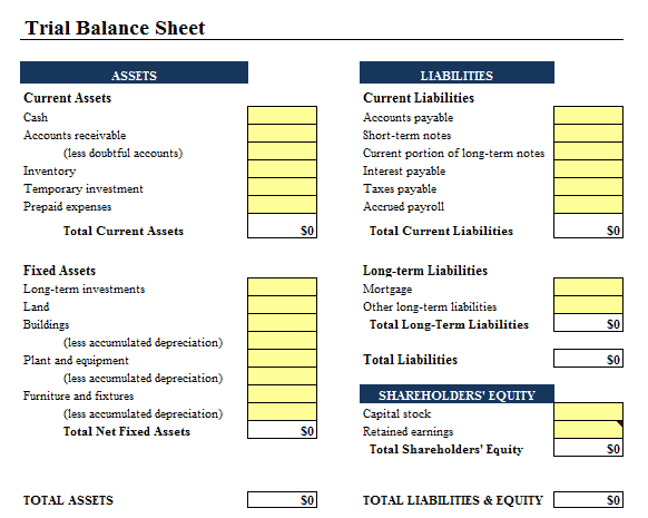 9 balance sheet formats in excel excel templates for Year end balance sheet template