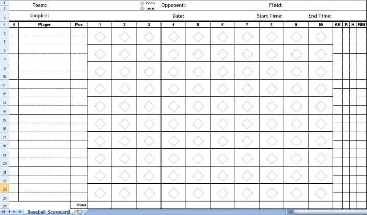 Baseball Score Sheet Temlate 142 Amazing Design