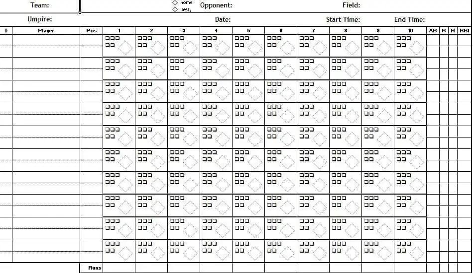 Baseball Score Sheet Temlate 574
