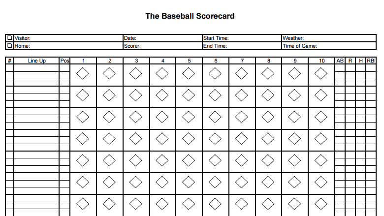 8 printable baseball scorecard templates excel templates for Free baseball lineup card template