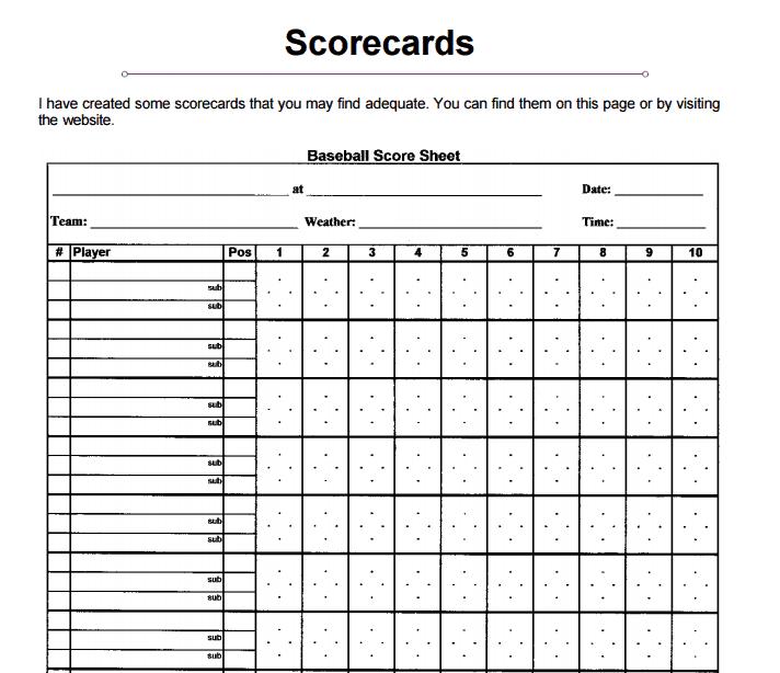 Baseball Scorecard PDF Template
