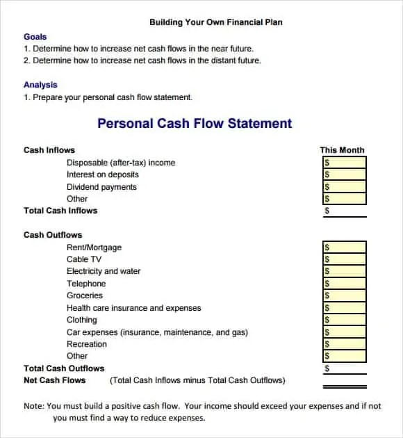 cash flow excel template 666