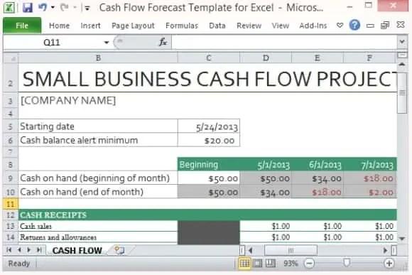 Cash Flow Excel Templates  Excel Templates