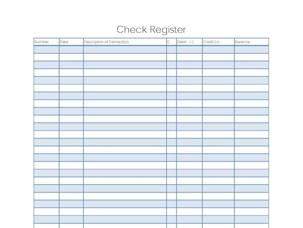 bank register templates